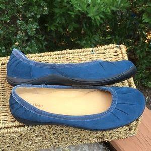 LL Bean Blue Suede Comfort Shoes Sz 10M